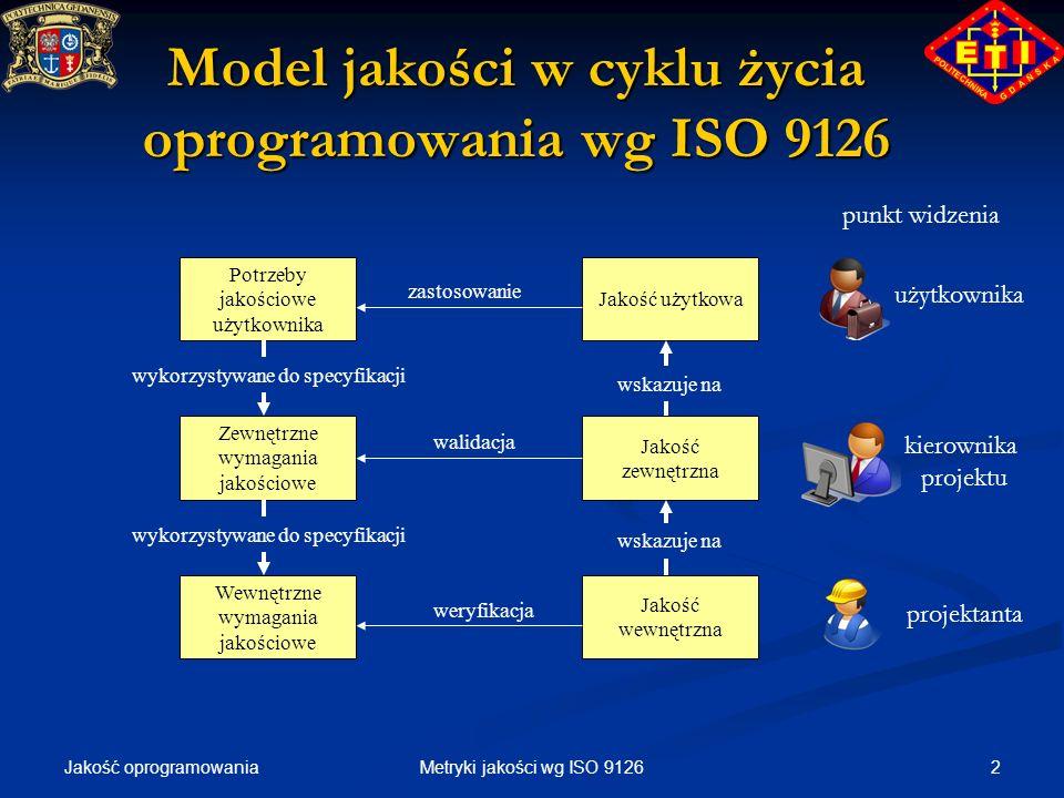 Jakość oprogramowania 3Metryki jakości wg ISO 9126 Rodzaje metryk Ocena dokumentacji Specyfikacja wymagań Projekt Kod źródłowy Raport z przeglądu Metryki wewnętrzne Metryki wewnętrzne Metryki typu A/B Metryki typu A/B Metryki typu 1-A/B Metryki typu 1-A/B Metryki typu T Metryki typu T Metryki typu A/T Metryki typu A/T Inne metryki Inne metryki Ocena dokumentacji Raport z testów Raport z analizy problemu Raport operacyjny Kwestionariusz Metryki zewnętrzne Metryki zewnętrzne Ocena użycia Raport z obserwacji użytk.
