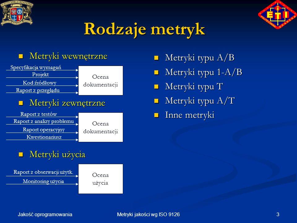 Jakość oprogramowania 3Metryki jakości wg ISO 9126 Rodzaje metryk Ocena dokumentacji Specyfikacja wymagań Projekt Kod źródłowy Raport z przeglądu Metr