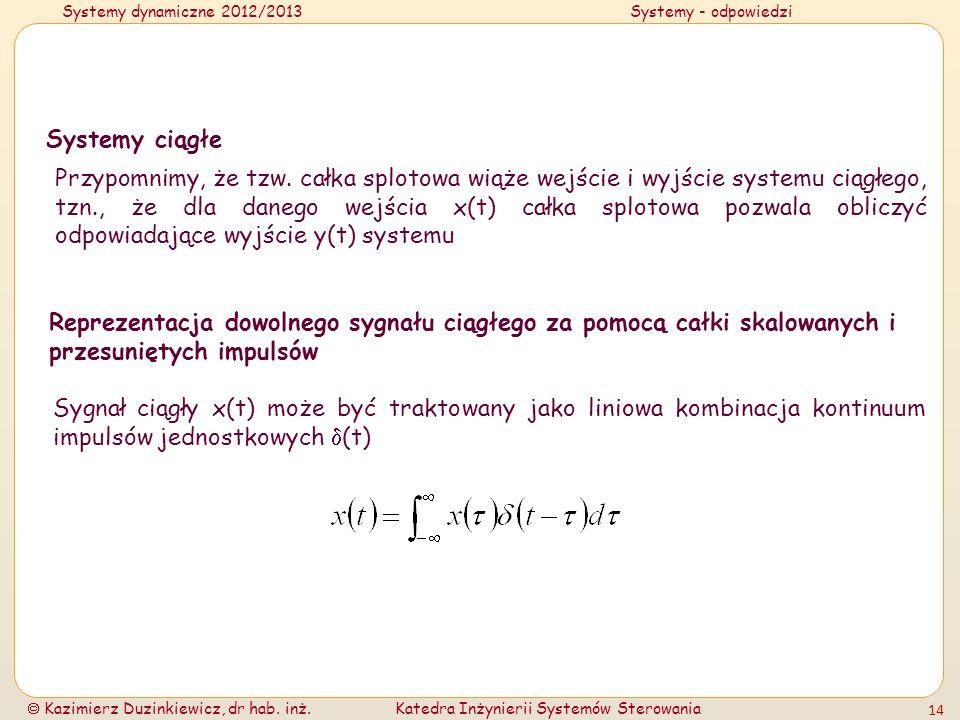 Systemy dynamiczne 2012/2013Systemy - odpowiedzi Kazimierz Duzinkiewicz, dr hab. inż.Katedra Inżynierii Systemów Sterowania 14 Systemy ciągłe Przypomn