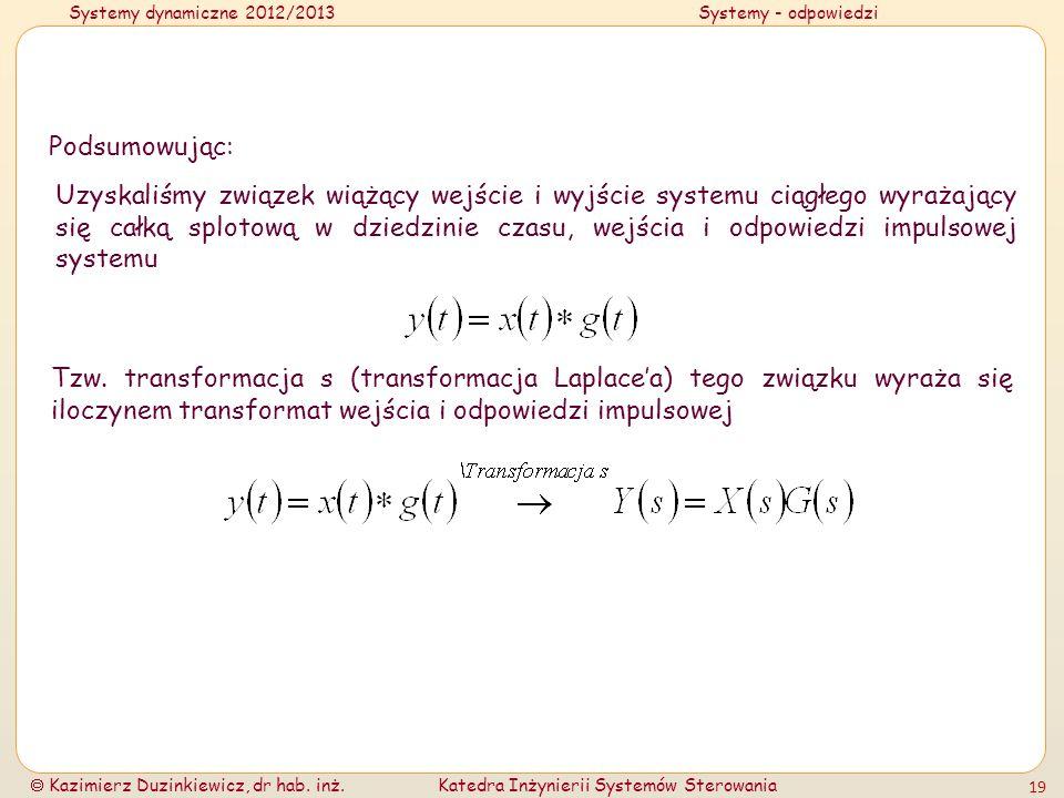 Systemy dynamiczne 2012/2013Systemy - odpowiedzi Kazimierz Duzinkiewicz, dr hab. inż.Katedra Inżynierii Systemów Sterowania 19 Podsumowując: Uzyskaliś