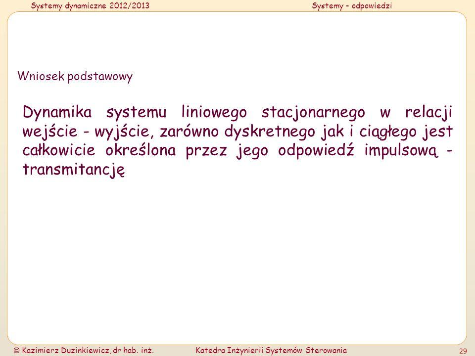 Systemy dynamiczne 2012/2013Systemy - odpowiedzi Kazimierz Duzinkiewicz, dr hab. inż.Katedra Inżynierii Systemów Sterowania 29 Wniosek podstawowy Dyna