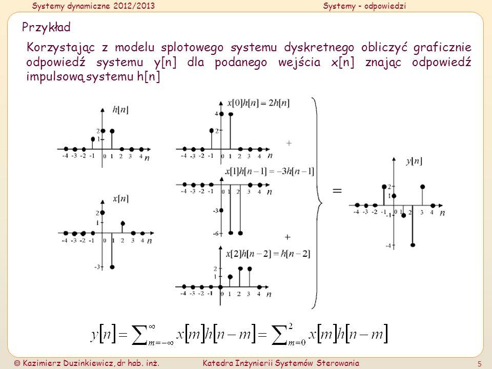 Systemy dynamiczne 2012/2013Systemy - odpowiedzi Kazimierz Duzinkiewicz, dr hab. inż.Katedra Inżynierii Systemów Sterowania 5 Przykład Korzystając z m