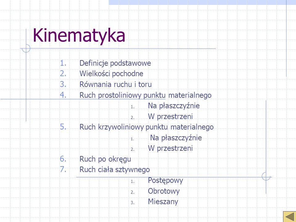 Kinematyka 1. Definicje podstawowe 2. Wielkości pochodne 3. Równania ruchu i toru 4. Ruch prostoliniowy punktu materialnego 1. Na płaszczyźnie 2. W pr
