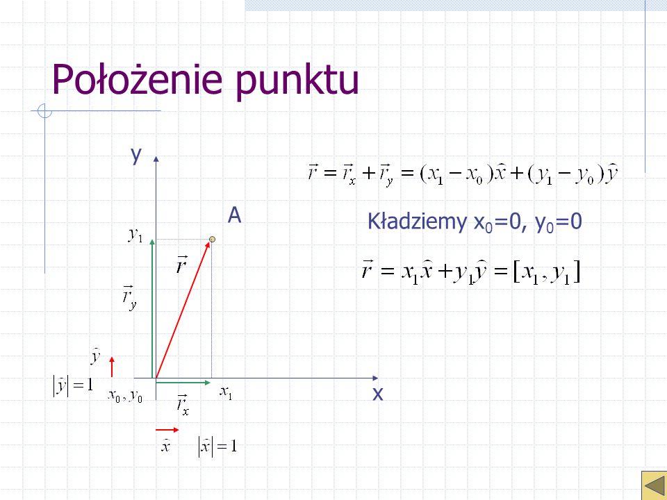 Prędkość i przyspieszenie Przypadek jednowymiarowy Parametry są wektorami, tylko w przypadku rozpatrywania konkretnych kierunków można pominąć zapis wektorowy.