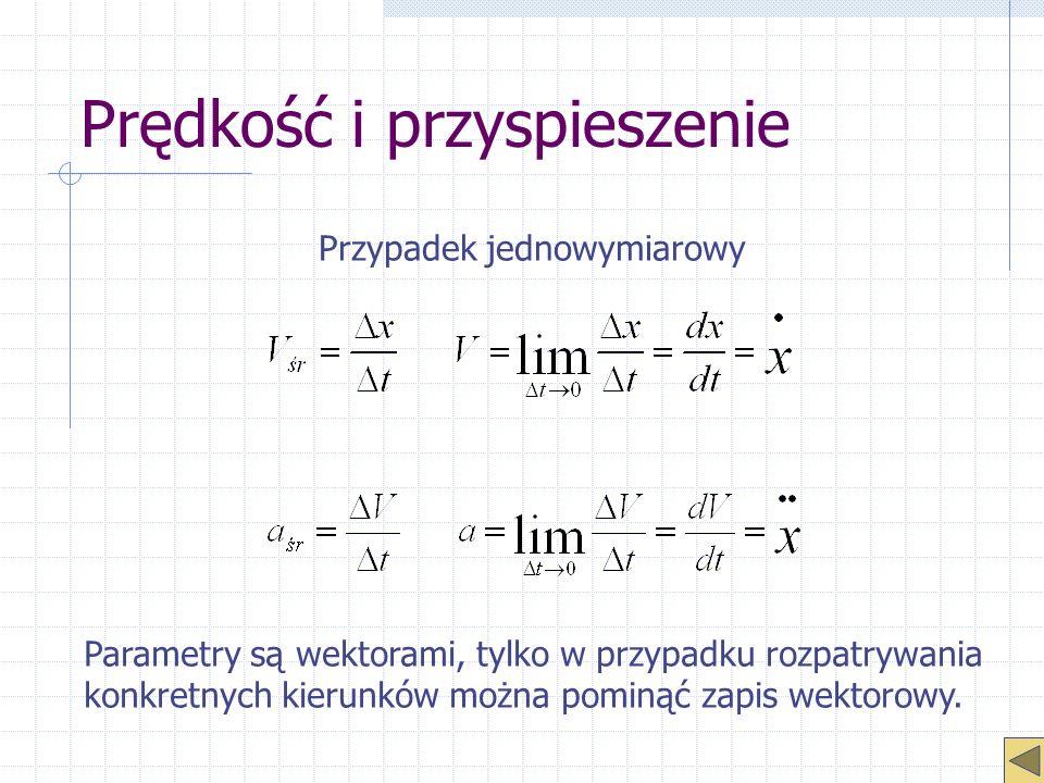 Prędkość i przyspieszenie Przypadek jednowymiarowy Parametry są wektorami, tylko w przypadku rozpatrywania konkretnych kierunków można pominąć zapis w
