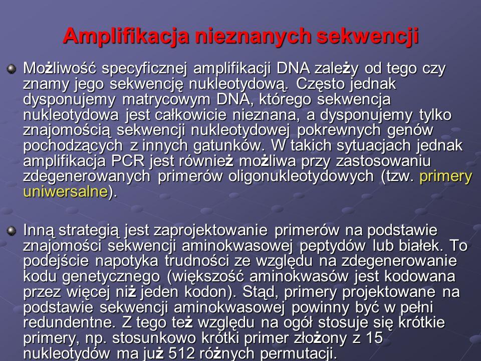 Amplifikacja nieznanych sekwencji Możliwość specyficznej amplifikacji DNA zależy od tego czy znamy jego sekwencję nukleotydową. Często jednak dysponuj