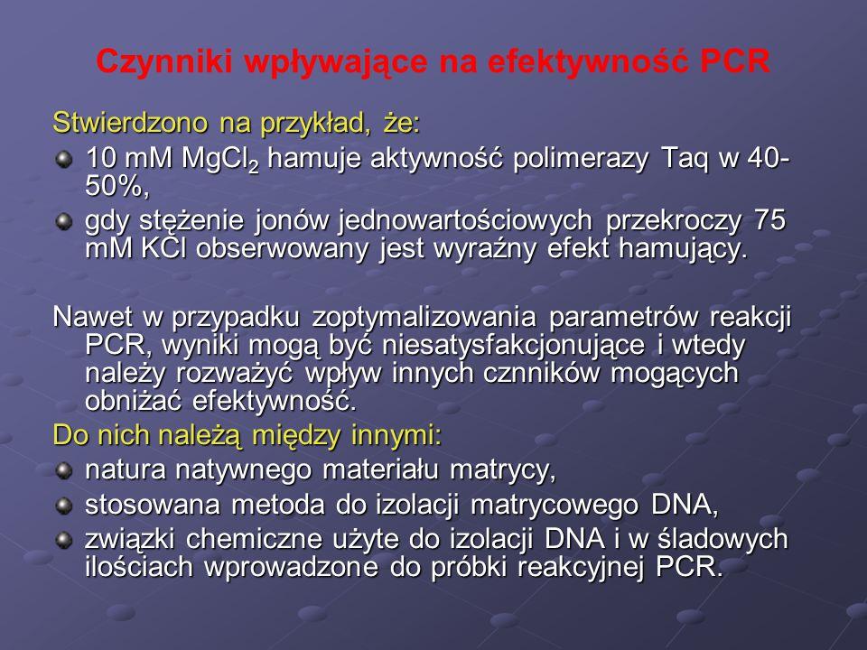 Czynniki wpływające na efektywność PCR Stwierdzono na przykład, że: 10 mM MgCl 2 hamuje aktywność polimerazy Taq w 40- 50%, gdy stężenie jonów jednowa