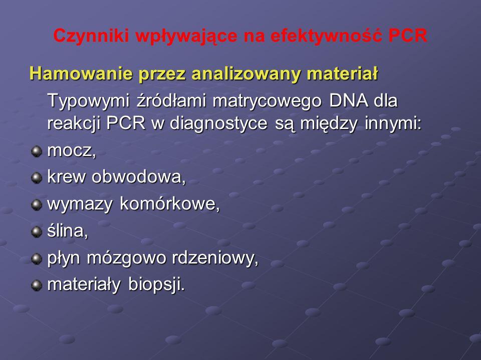 Czynniki wpływające na efektywność PCR Hamowanie przez analizowany materiał Typowymi źródłami matrycowego DNA dla reakcji PCR w diagnostyce są między