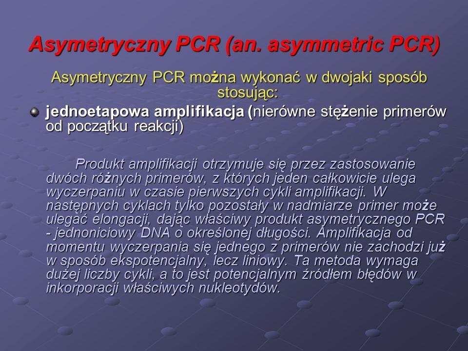 Asymetryczny PCR (an. asymmetric PCR) Asymetryczny PCR można wykonać w dwojaki sposób stosując: jednoetapowa amplifikacja (nierówne stężenie primerów