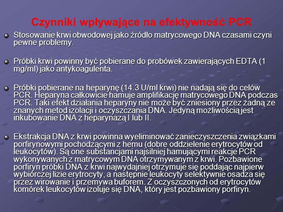 Czynniki wpływające na efektywność PCR Stosowanie krwi obwodowej jako źródło matrycowego DNA czasami czyni pewne problemy. Próbki krwi powinny być pob