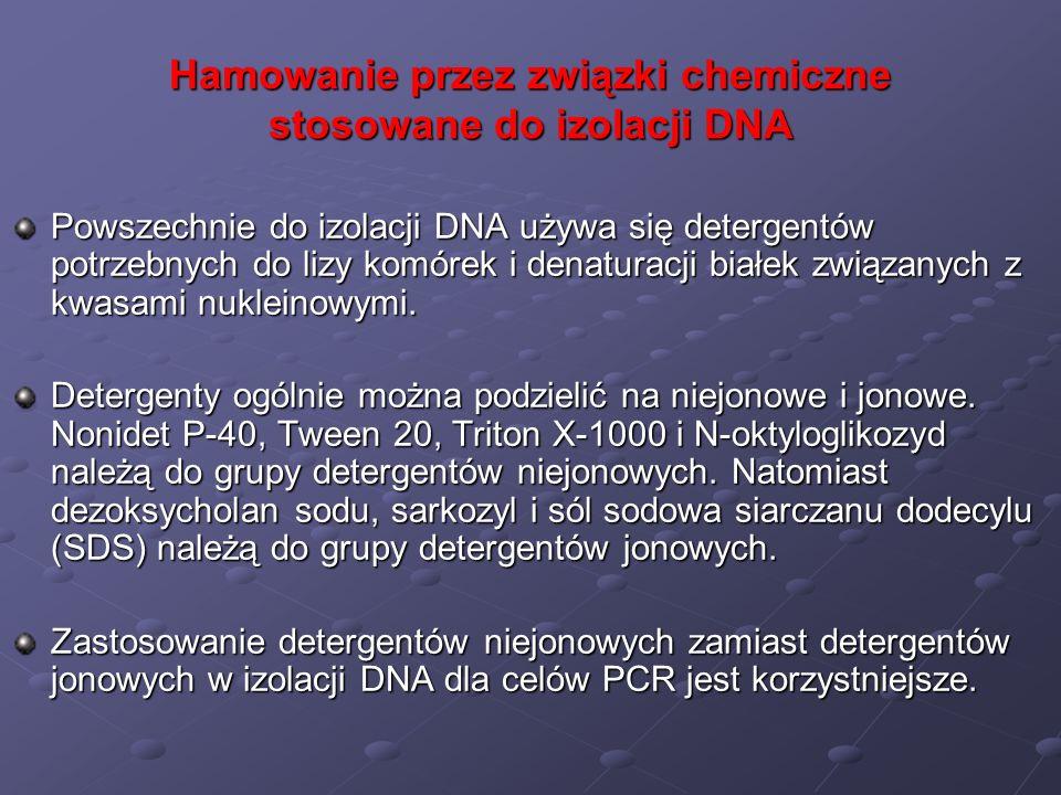 Hamowanie przez związki chemiczne stosowane do izolacji DNA Powszechnie do izolacji DNA używa się detergentów potrzebnych do lizy komórek i denaturacj