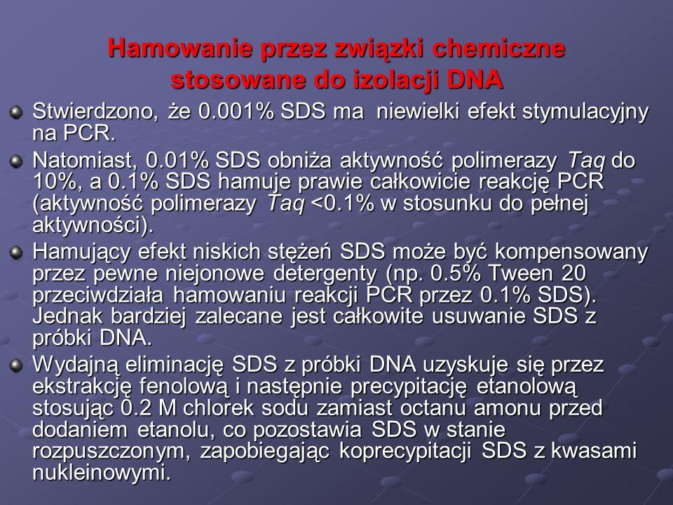 Hamowanie przez związki chemiczne stosowane do izolacji DNA Stwierdzono, że 0.001% SDS ma niewielki efekt stymulacyjny na PCR. Natomiast, 0.01% SDS ob