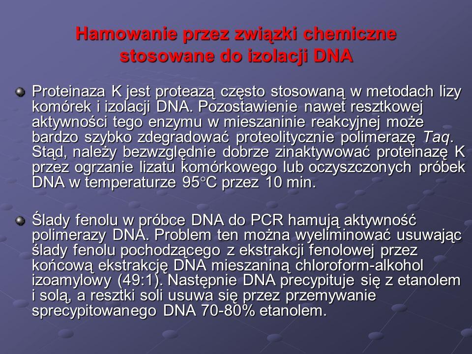 Hamowanie przez związki chemiczne stosowane do izolacji DNA Proteinaza K jest proteazą często stosowaną w metodach lizy komórek i izolacji DNA. Pozost