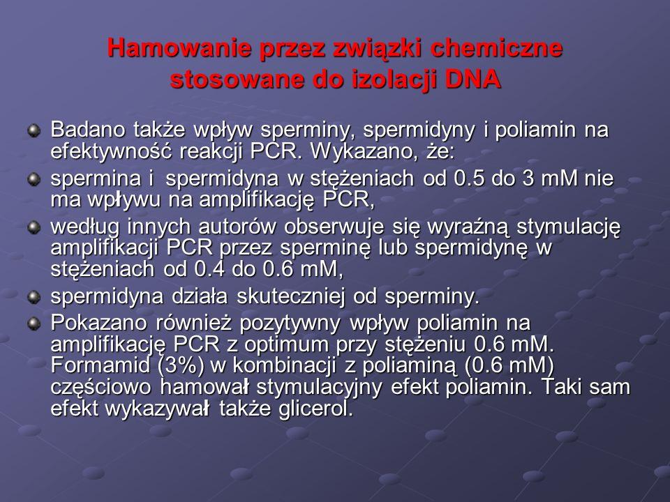 Hamowanie przez związki chemiczne stosowane do izolacji DNA Badano także wpływ sperminy, spermidyny i poliamin na efektywność reakcji PCR. Wykazano, ż