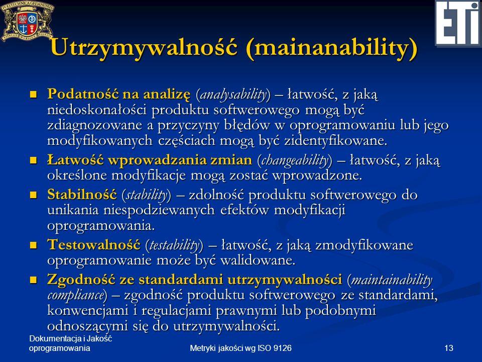 Dokumentacja i Jakość oprogramowania Utrzymywalność (mainanability) Podatność na analizę (analysability) – łatwość, z jaką niedoskonałości produktu so