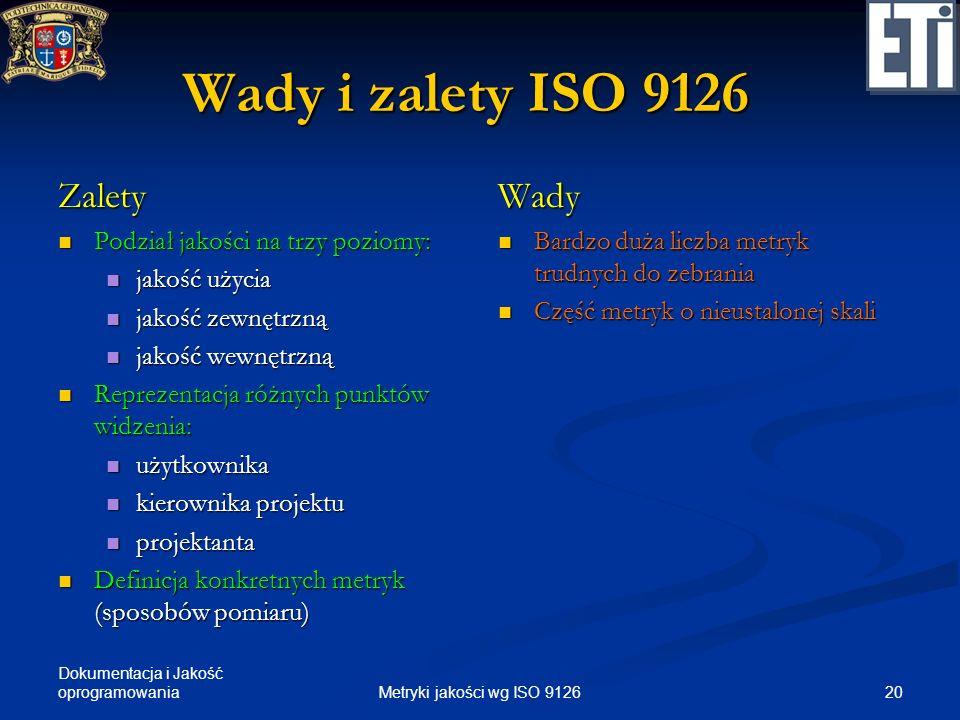 Dokumentacja i Jakość oprogramowania Wady i zalety ISO 9126 Zalety Podział jakości na trzy poziomy: Podział jakości na trzy poziomy: jakość użycia jak