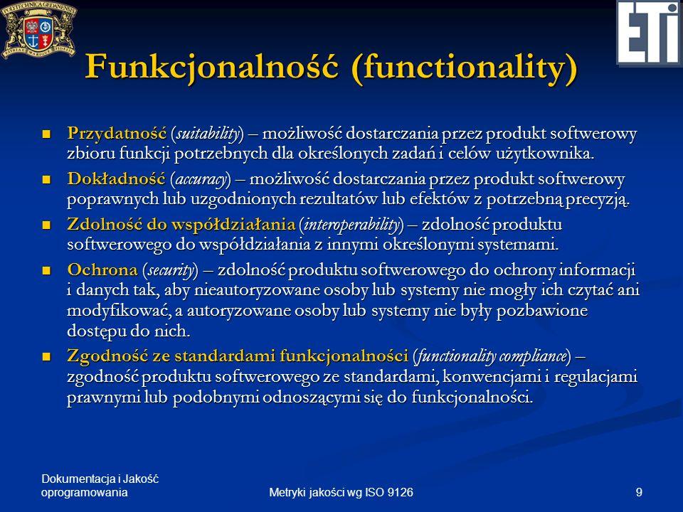 Dokumentacja i Jakość oprogramowania Funkcjonalność (functionality) Przydatność (suitability) – możliwość dostarczania przez produkt softwerowy zbioru