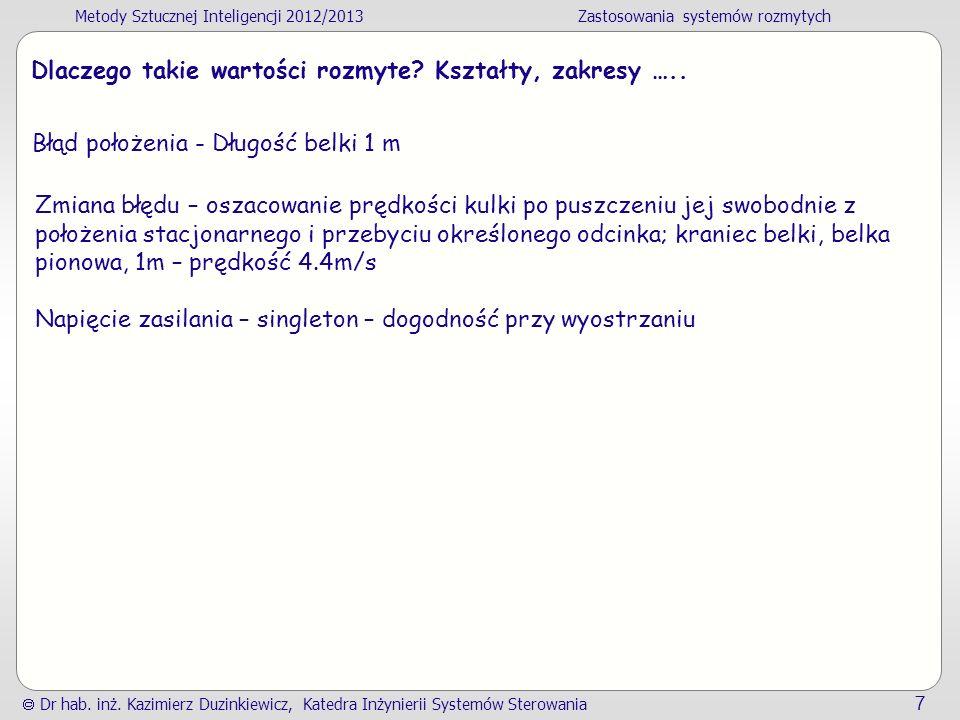 Metody Sztucznej Inteligencji 2012/2013Zastosowania systemów rozmytych Dr hab.