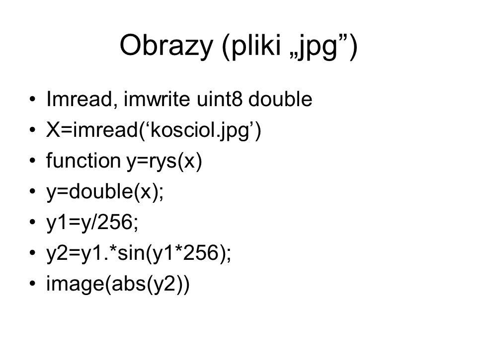 Obrazy (pliki jpg) Imread, imwrite uint8 double X=imread(kosciol.jpg) function y=rys(x) y=double(x); y1=y/256; y2=y1.*sin(y1*256); image(abs(y2))