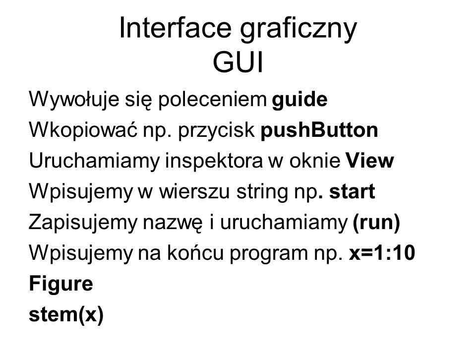 Interface graficzny GUI Wywołuje się poleceniem guide Wkopiować np. przycisk pushButton Uruchamiamy inspektora w oknie View Wpisujemy w wierszu string