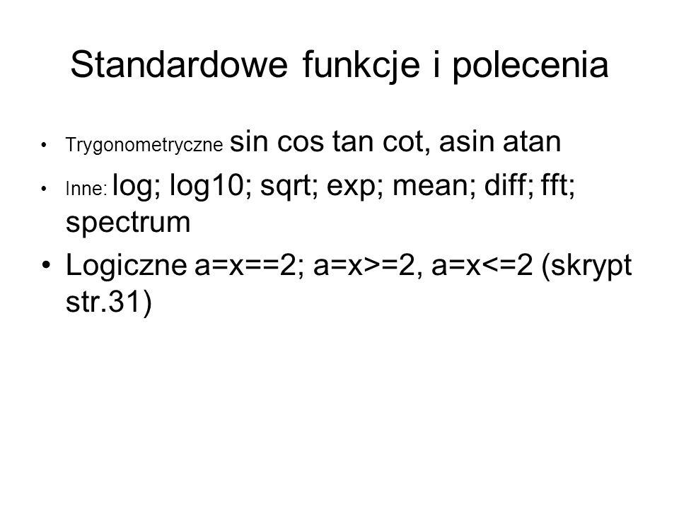 Standardowe funkcje i polecenia Trygonometryczne sin cos tan cot, asin atan Inne: log; log10; sqrt; exp; mean; diff; fft; spectrum Logiczne a=x==2; a=