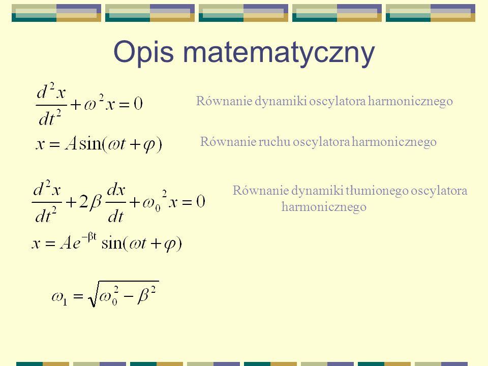 Opis matematyczny Analogicznie dla wahadła fizycznego Dla małych kątów prawdziwa jest relacja