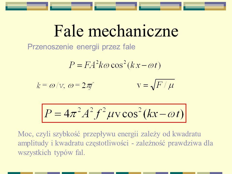 Fale mechaniczne Przenoszenie energii przez fale sin – y/ x