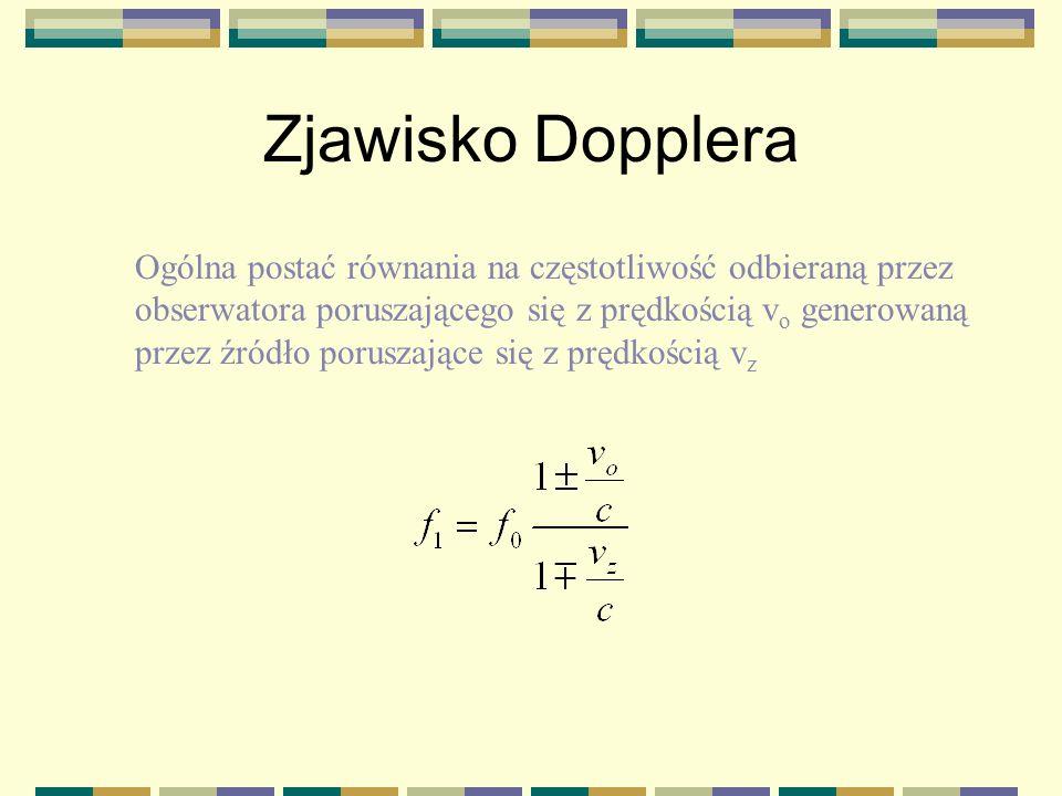 Zjawisko Dopplera v Obserwator zbliża się do źródła f0f0 Obserwator oddala się do źródła
