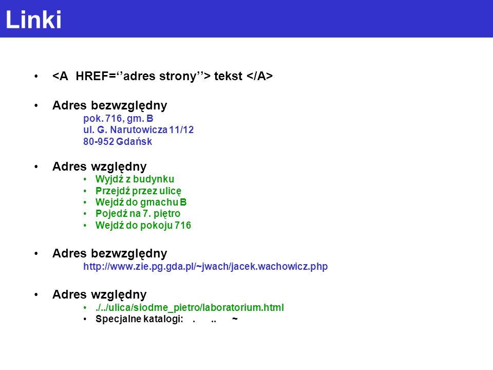 Linki tekst Adres bezwzględny pok.716, gm. B ul. G.