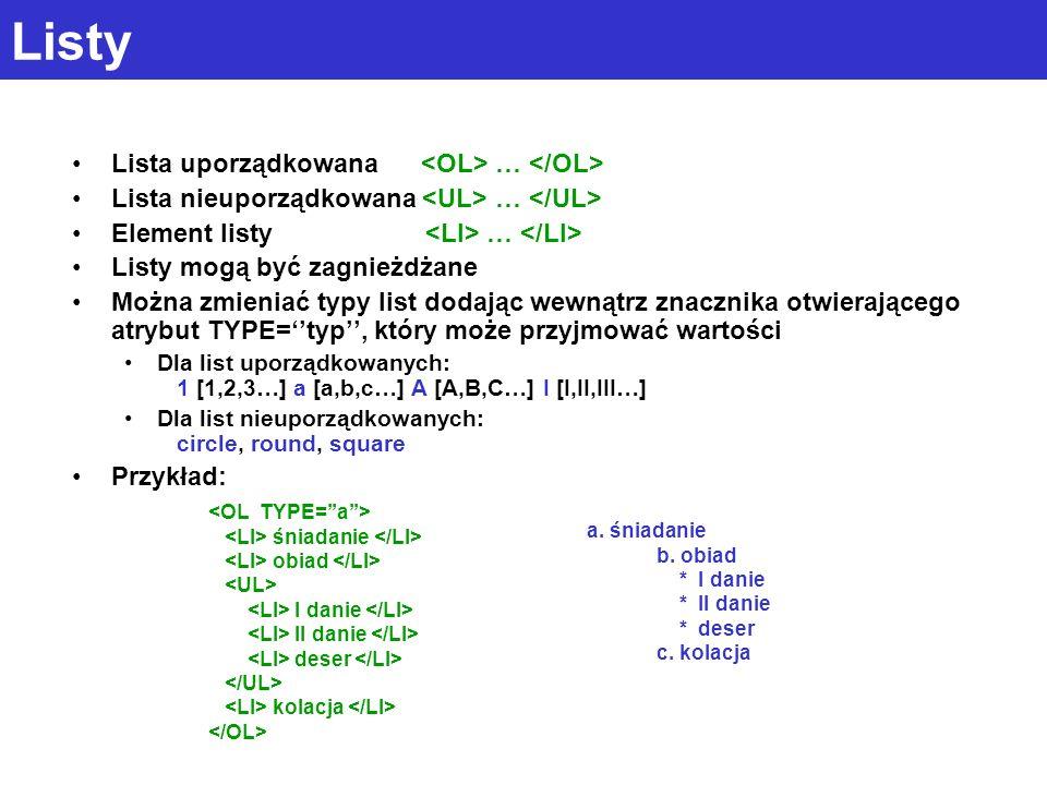 Listy Lista uporządkowana … Lista nieuporządkowana … Element listy … Listy mogą być zagnieżdżane Można zmieniać typy list dodając wewnątrz znacznika otwierającego atrybut TYPE=typ, który może przyjmować wartości Dla list uporządkowanych: 1 [1,2,3…] a [a,b,c…] A [A,B,C…] I [I,II,III…] Dla list nieuporządkowanych: circle, round, square Przykład: śniadanie obiad I danie II danie deser kolacja a.