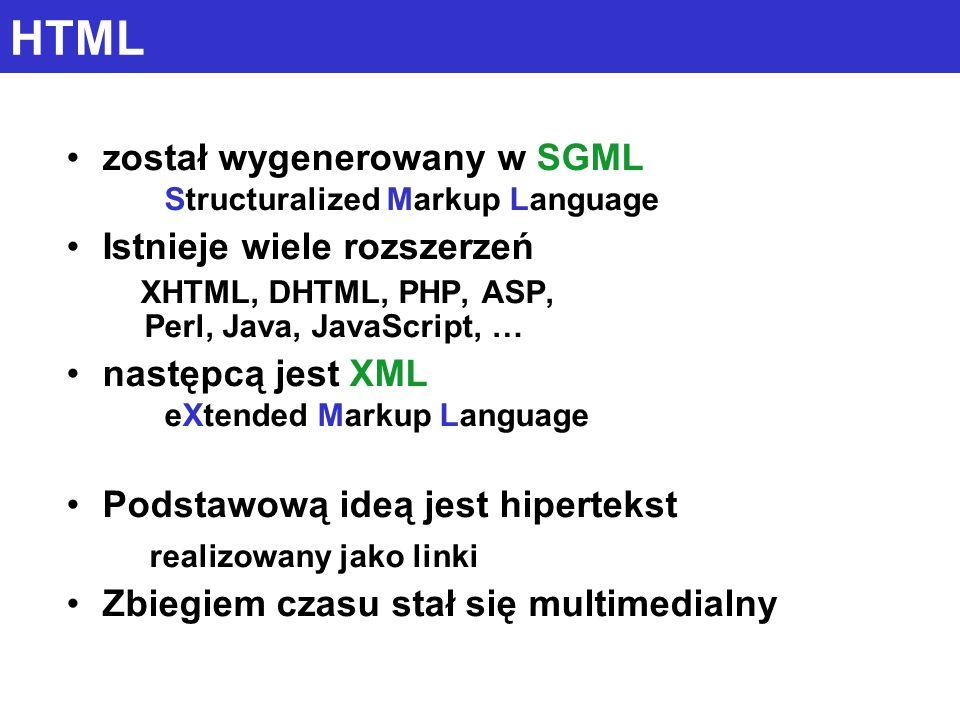 HTML został wygenerowany w SGML Structuralized Markup Language Istnieje wiele rozszerzeń XHTML, DHTML, PHP, ASP, Perl, Java, JavaScript, … następcą jest XML eXtended Markup Language Podstawową ideą jest hipertekst realizowany jako linki Zbiegiem czasu stał się multimedialny