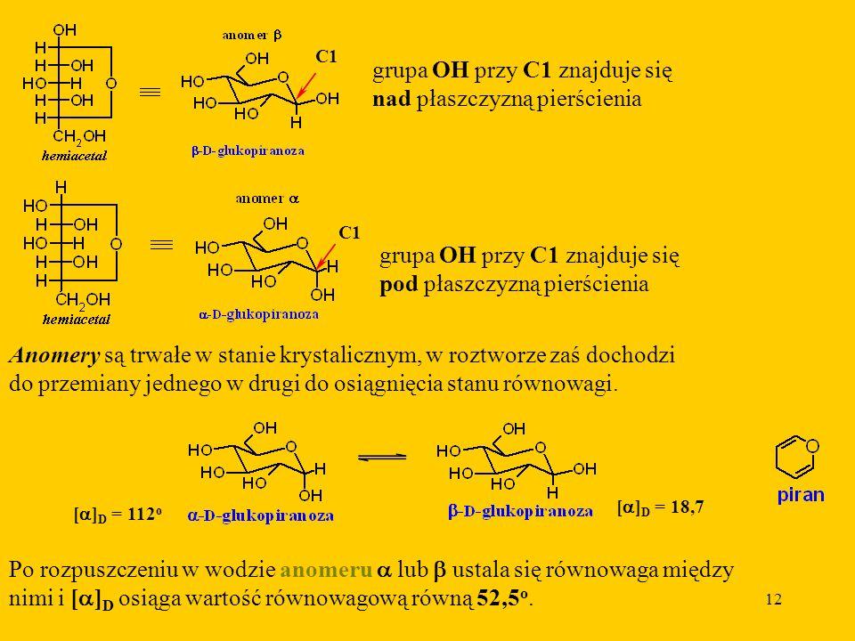 12 grupa OH przy C1 znajduje się nad płaszczyzną pierścienia C1 grupa OH przy C1 znajduje się pod płaszczyzną pierścienia Anomery są trwałe w stanie krystalicznym, w roztworze zaś dochodzi do przemiany jednego w drugi do osiągnięcia stanu równowagi.