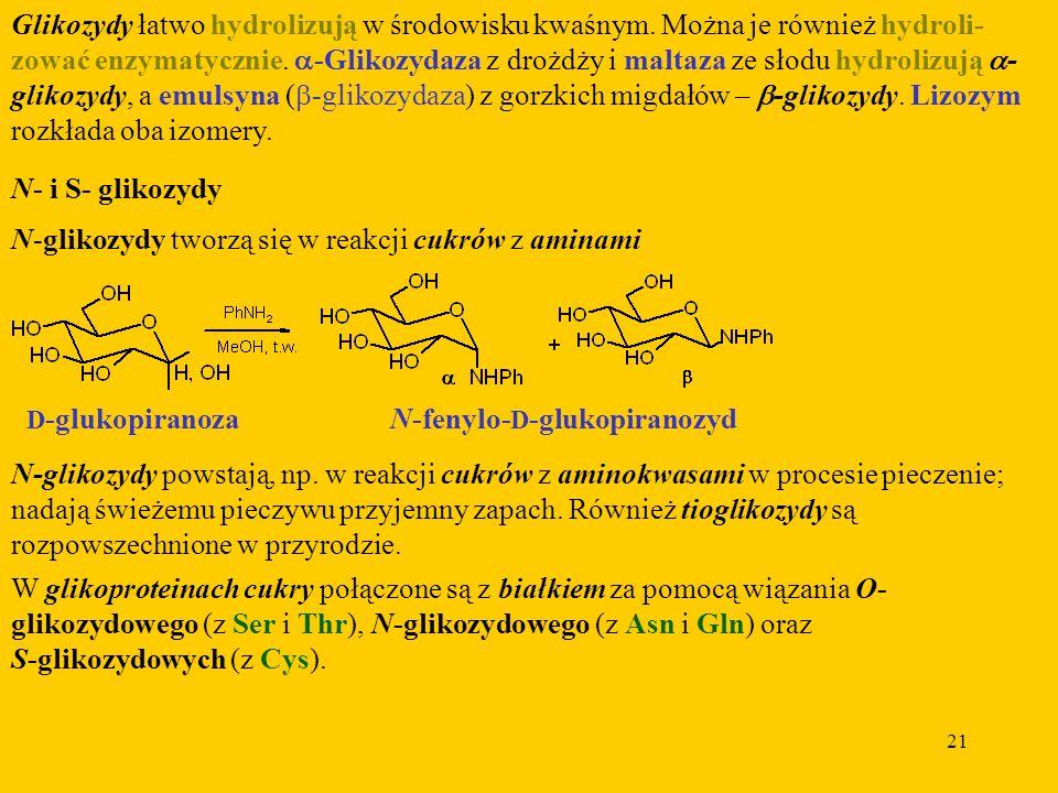 21 Glikozydy łatwo hydrolizują w środowisku kwaśnym.