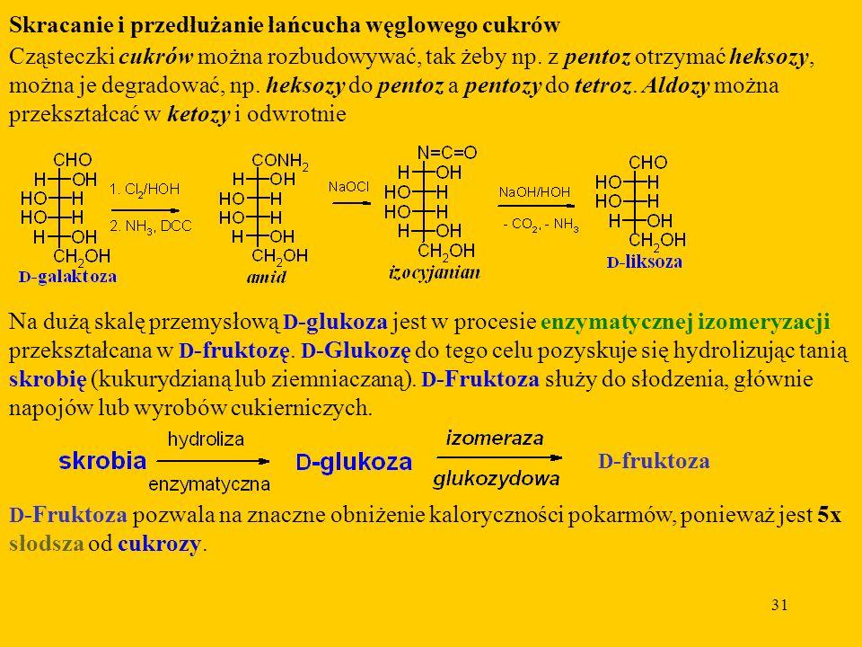 31 Skracanie i przedłużanie łańcucha węglowego cukrów Cząsteczki cukrów można rozbudowywać, tak żeby np.