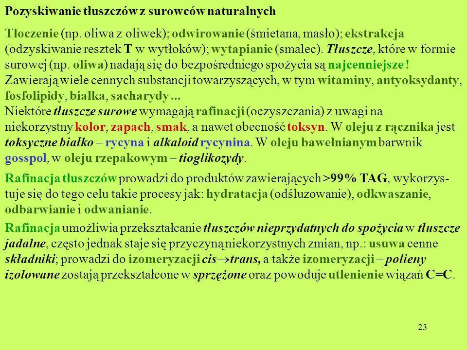 23 Pozyskiwanie tłuszczów z surowców naturalnych Tłoczenie (np. oliwa z oliwek); odwirowanie (śmietana, masło); ekstrakcja (odzyskiwanie resztek T w w