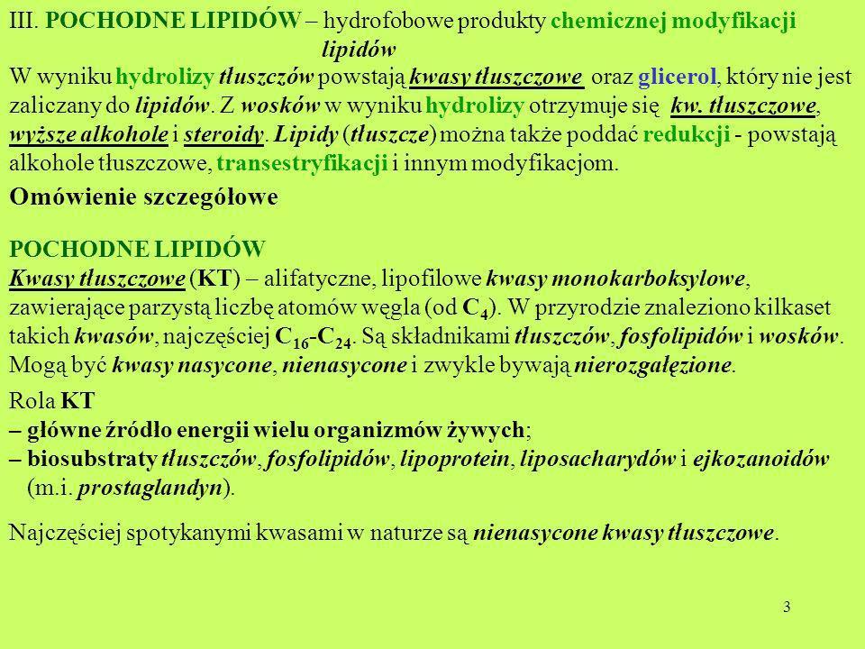 3 III. POCHODNE LIPIDÓW – hydrofobowe produkty chemicznej modyfikacji lipidów W wyniku hydrolizy tłuszczów powstają kwasy tłuszczowe oraz glicerol, kt