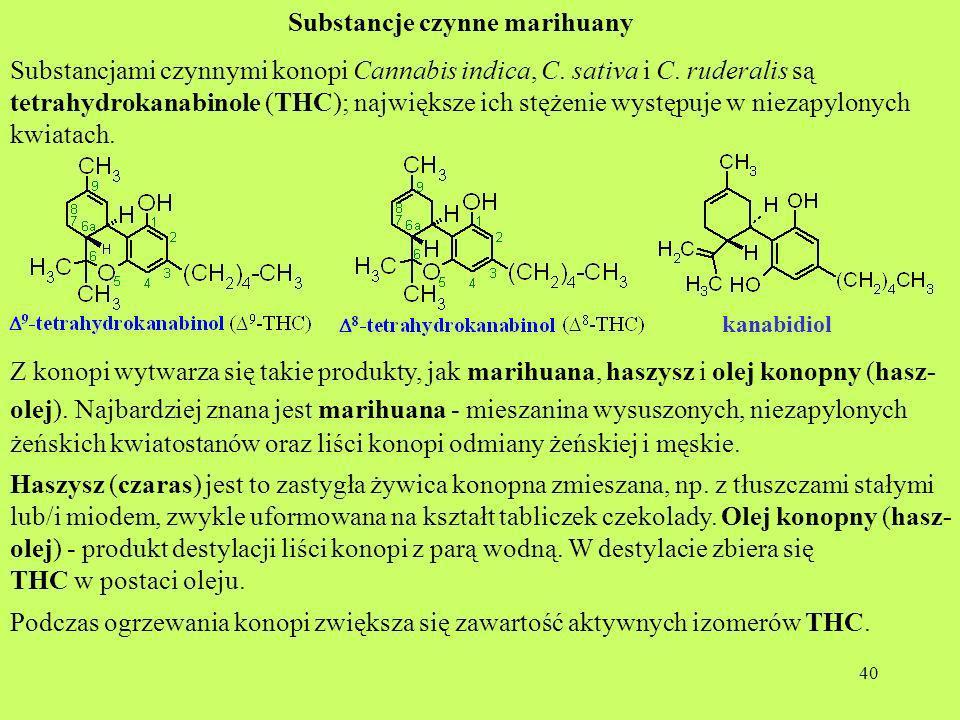 40 Substancje czynne marihuany kanabidiol Substancjami czynnymi konopi Cannabis indica, C. sativa i C. ruderalis są tetrahydrokanabinole (THC); najwię