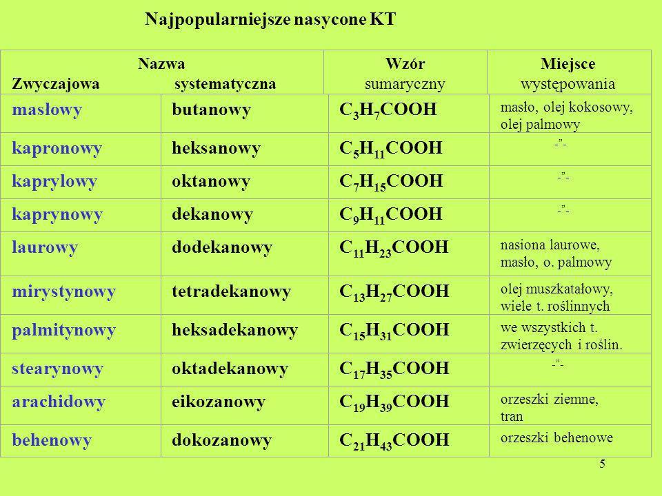 5 Najpopularniejsze nasycone KT Nazwa Zwyczajowa systematyczna Wzór sumaryczny Miejsce występowania masłowybutanowyC 3 H 7 COOH masło, olej kokosowy,