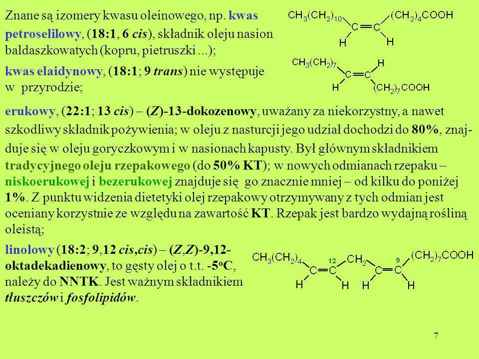 7 Znane są izomery kwasu oleinowego, np. kwas petroselilowy, (18:1, 6 cis), składnik oleju nasion baldaszkowatych (kopru, pietruszki...); kwas elaidyn