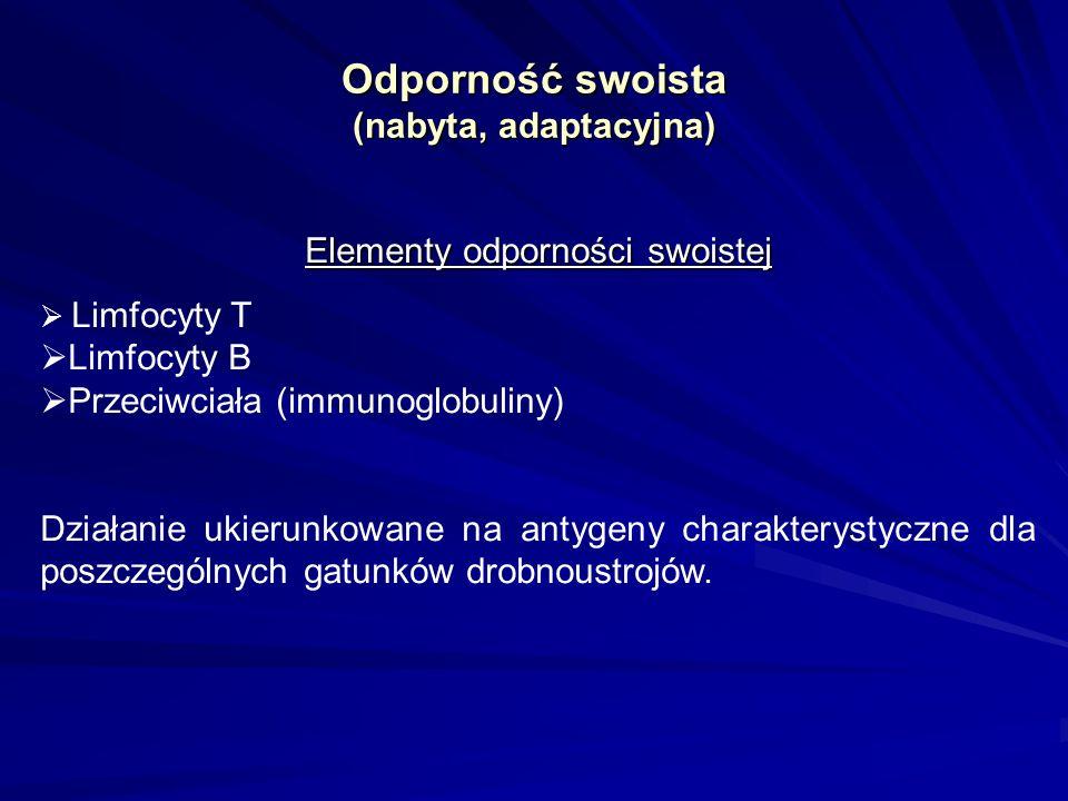 Odporność swoista (nabyta, adaptacyjna) Elementy odporności swoistej Limfocyty T Limfocyty B Przeciwciała (immunoglobuliny) Działanie ukierunkowane na