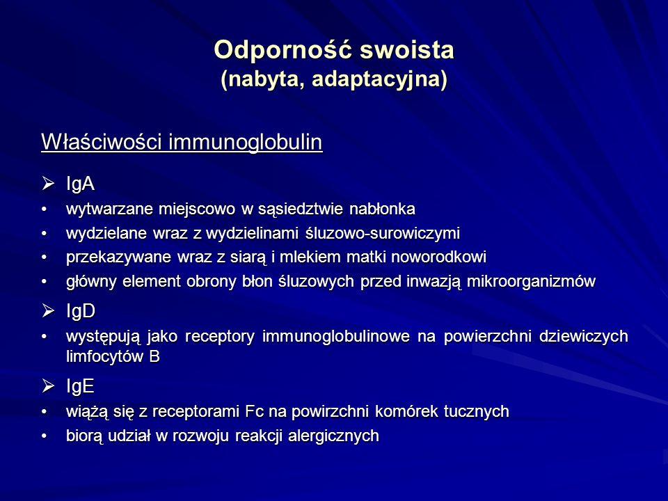 Odporność swoista (nabyta, adaptacyjna) Właściwości immunoglobulin IgA IgA wytwarzane miejscowo w sąsiedztwie nabłonkawytwarzane miejscowo w sąsiedztw