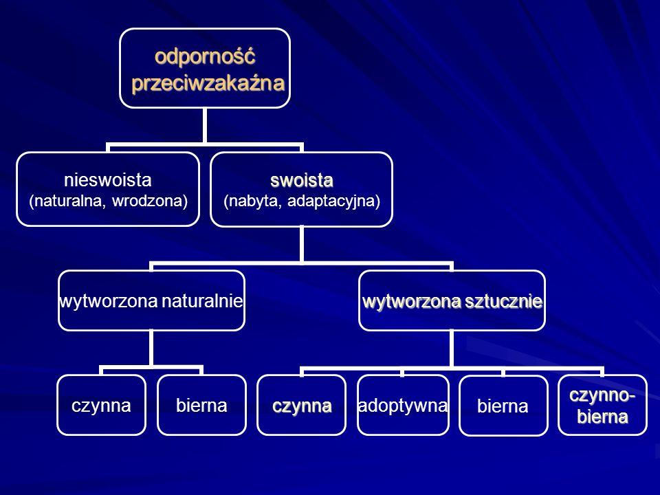 Odporność nieswoista i swoista Odporność nieswoista Odporność swoista bardzo szybka nie wymaga wstępnej aktywacji rozwija się powoli wymaga kontaktu z antygenem receptory rozpoznające antygen są niezmienne są dziedziczone z pokolenia na pokolenie receptory rozpoznające antygen wykształcają się na nowo w każdej pierwotnej reakcji immunologicznej nie są dziedziczone celem ataku nie są własne struktury organizmu może dojść do autoagresji nie pozostawia trwałej pamięci immunologicznej pozostawia trwałą pamięć immunologiczną rozwija się niezależnie od odporności swoistej do rozwinięcia prawie zawsze wymaga odporności nieswoistej