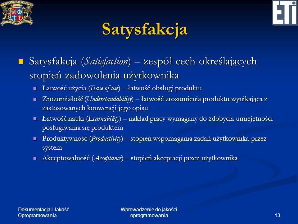 Dokumentacja i Jakość Oprogramowania 13 Wprowadzenie do jakości oprogramowania Satysfakcja Satysfakcja (Satisfaction) – zespół cech określających stop