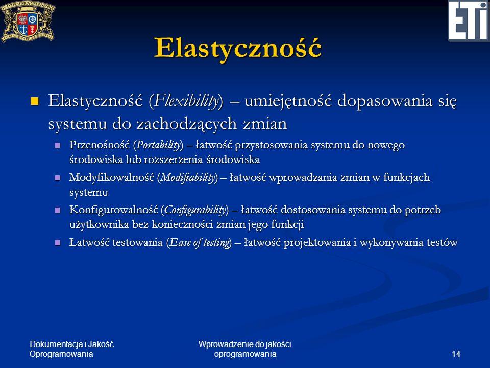 Dokumentacja i Jakość Oprogramowania 14 Wprowadzenie do jakości oprogramowania Elastyczność Elastyczność (Flexibility) – umiejętność dopasowania się s
