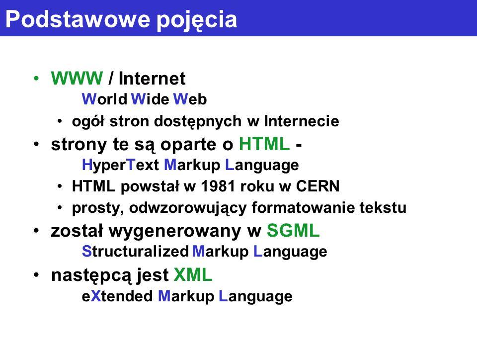 Podstawowe pojęcia WWW / Internet World Wide Web ogół stron dostępnych w Internecie strony te są oparte o HTML - HyperText Markup Language HTML powsta