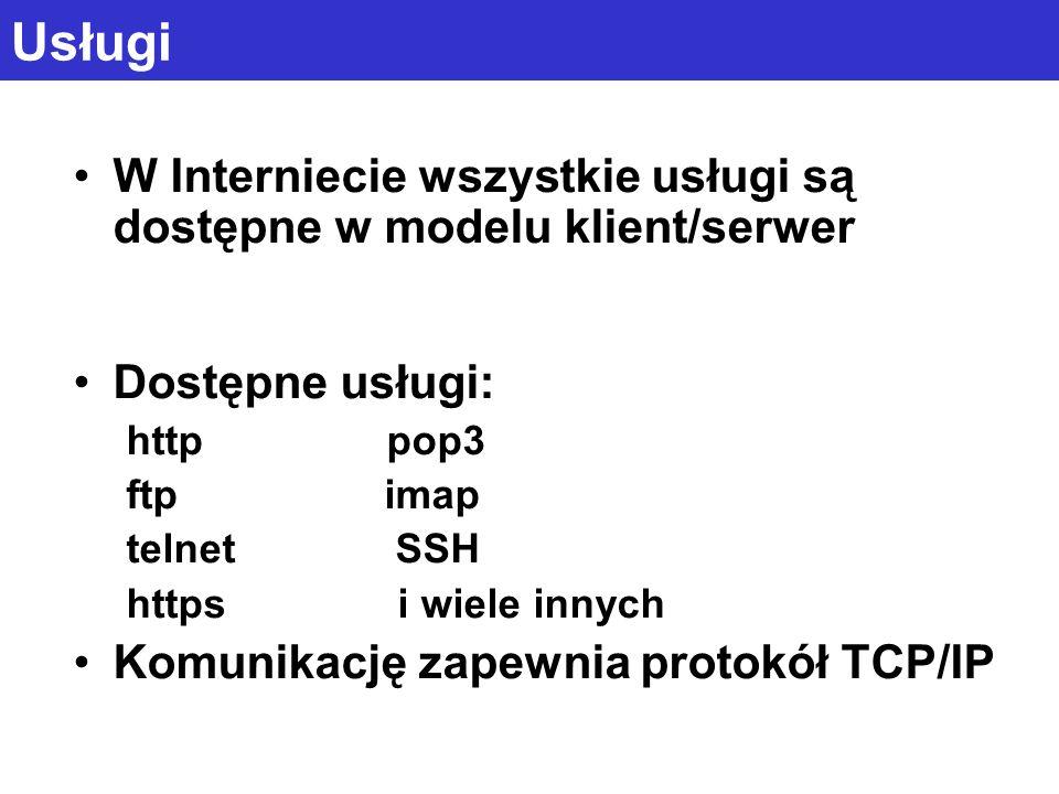 Usługi W Interniecie wszystkie usługi są dostępne w modelu klient/serwer Dostępne usługi: http pop3 ftp imap telnet SSH https i wiele innych Komunikac