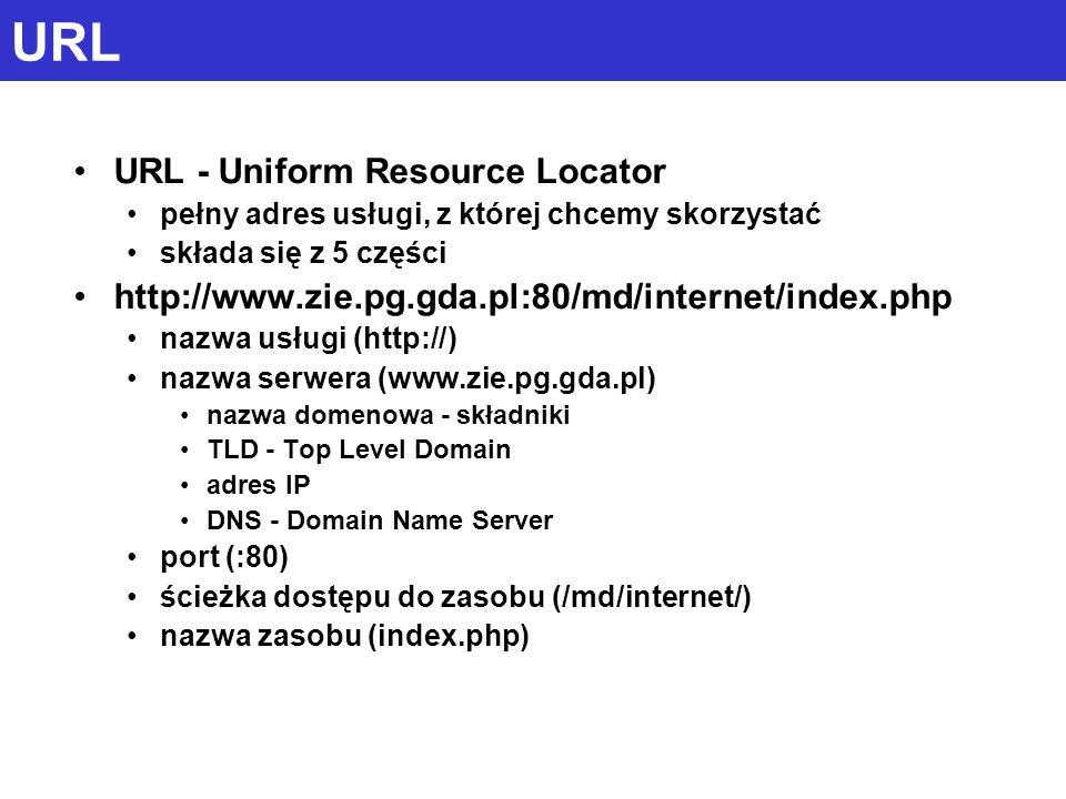 URL URL - Uniform Resource Locator pełny adres usługi, z której chcemy skorzystać składa się z 5 części http://www.zie.pg.gda.pl:80/md/internet/index.