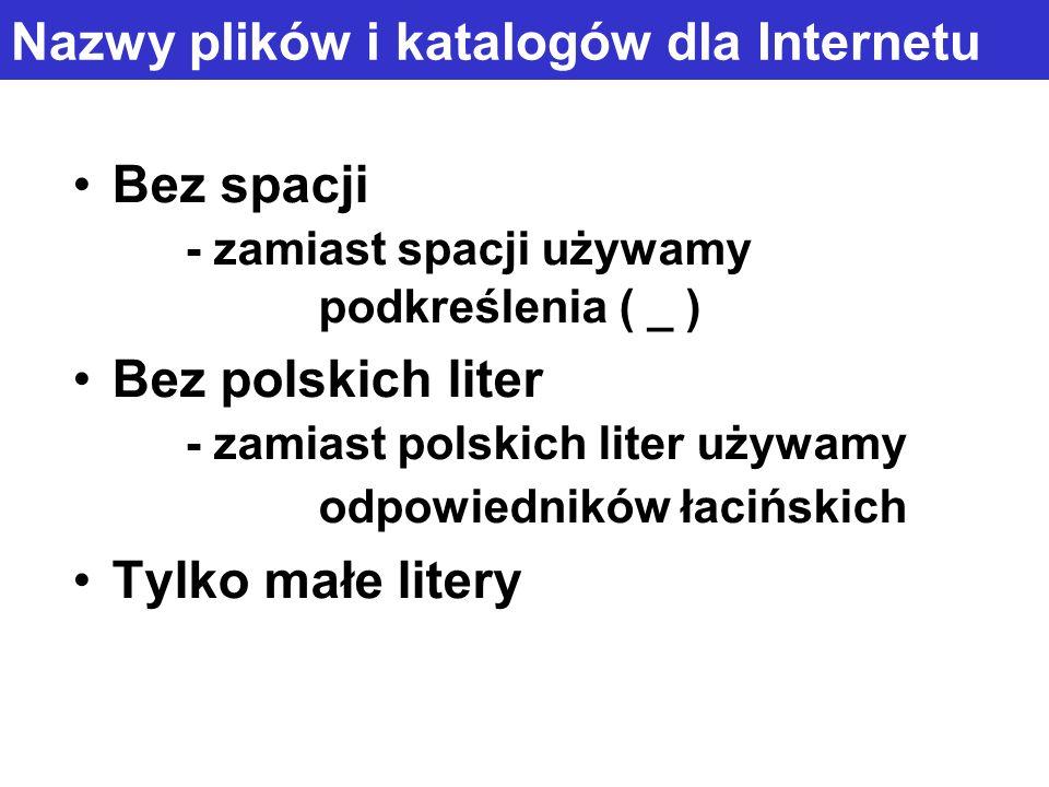 Nazwy plików i katalogów dla Internetu Bez spacji - zamiast spacji używamy podkreślenia ( _ ) Bez polskich liter - zamiast polskich liter używamy odpo