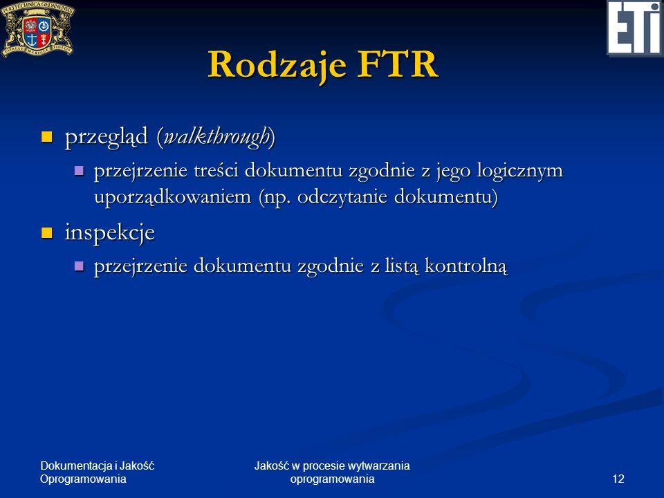 Dokumentacja i Jakość Oprogramowania 12 Jakość w procesie wytwarzania oprogramowania Rodzaje FTR przegląd (walkthrough) przegląd (walkthrough) przejrz