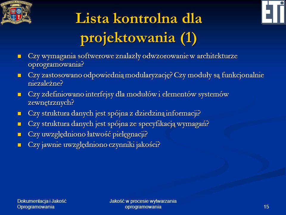 Dokumentacja i Jakość Oprogramowania 15 Jakość w procesie wytwarzania oprogramowania Lista kontrolna dla projektowania (1) Czy wymagania softwerowe zn